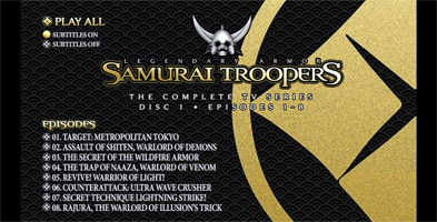 Samurai Troopers TV Series Collection - Disc 1 Menu