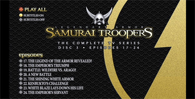 Samurai Troopers TV Series Collection - Disc 3 Menu