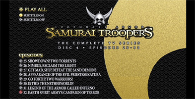 Samurai Troopers TV Series Collection - Disc 4 Menu