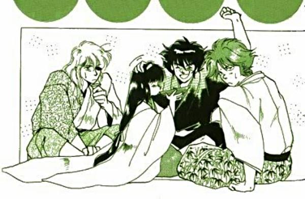 Dark Warlords / Mashou and Kayura drinking (minus Anubis/Shuten)