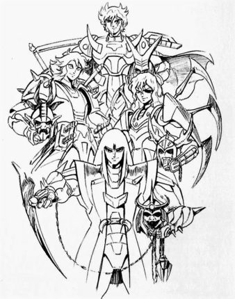 Line art of the 4 Warlords/Mashou in armor holding their helmets.
